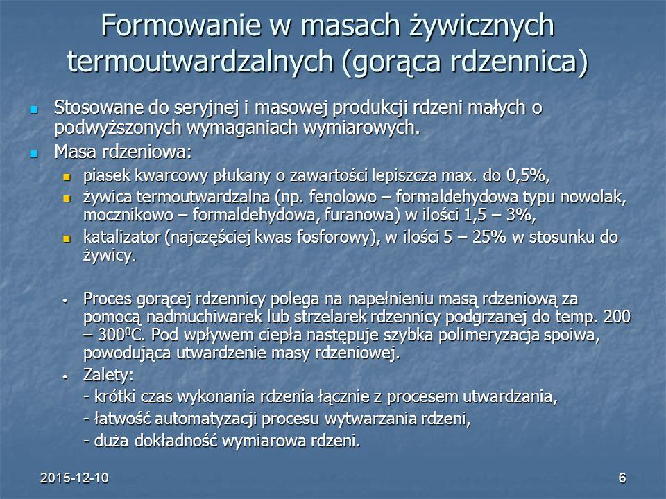 Formowanie w masach żywicznych termoutwardzalnych (gorąca rdzennica)