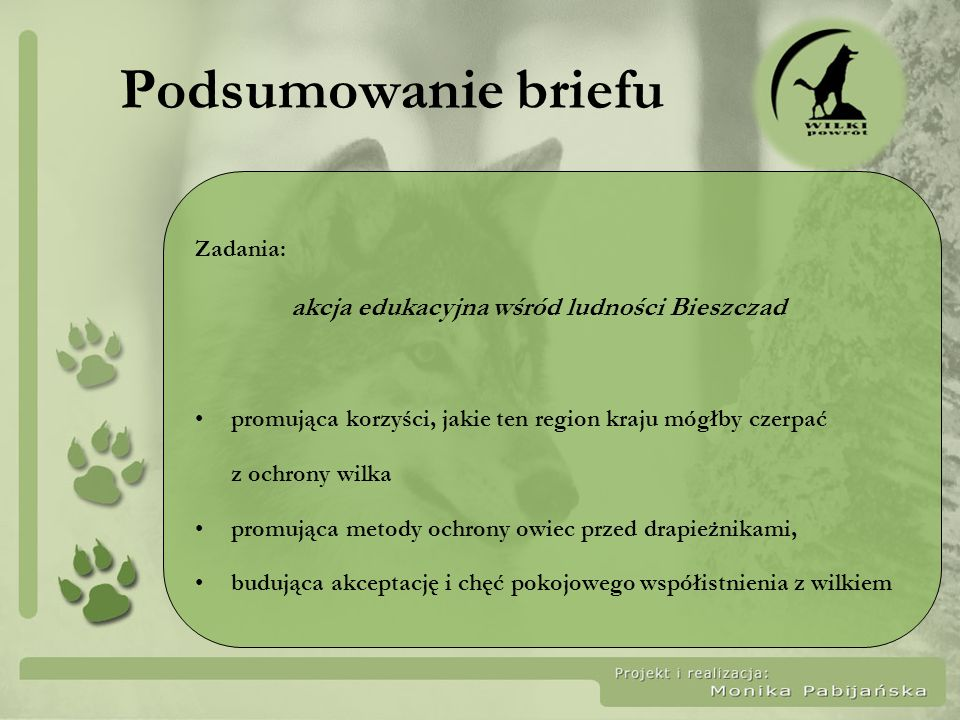 Podsumowanie briefu Zadania: akcja edukacyjna wśród ludności Bieszczad