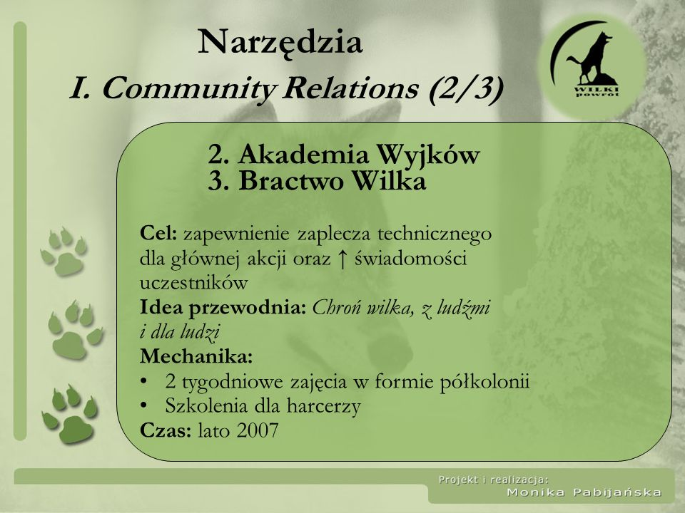 Narzędzia I. Community Relations (2/3)
