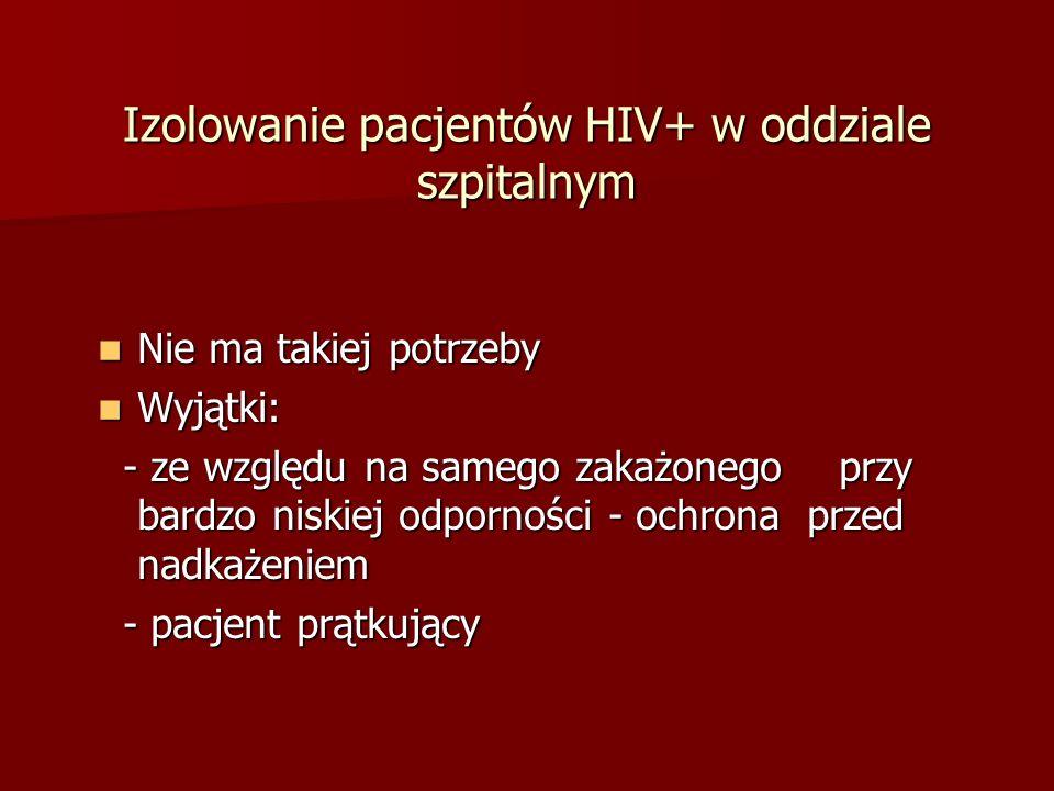 Izolowanie pacjentów HIV+ w oddziale szpitalnym
