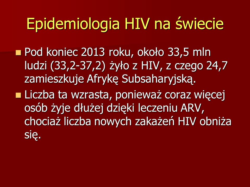 Epidemiologia HIV na świecie