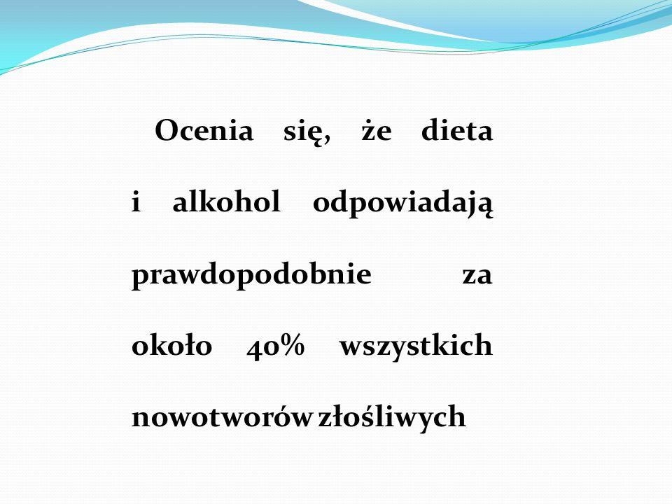 Ocenia się, że dieta i alkohol odpowiadają prawdopodobnie za około 40% wszystkich nowotworów złośliwych