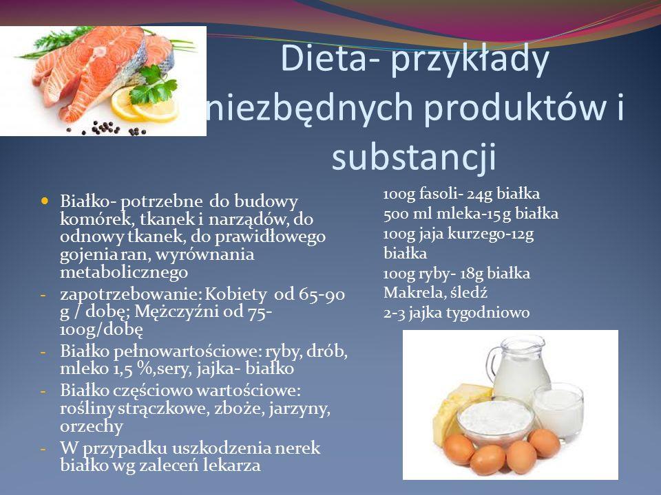 Dieta- przykłady niezbędnych produktów i substancji