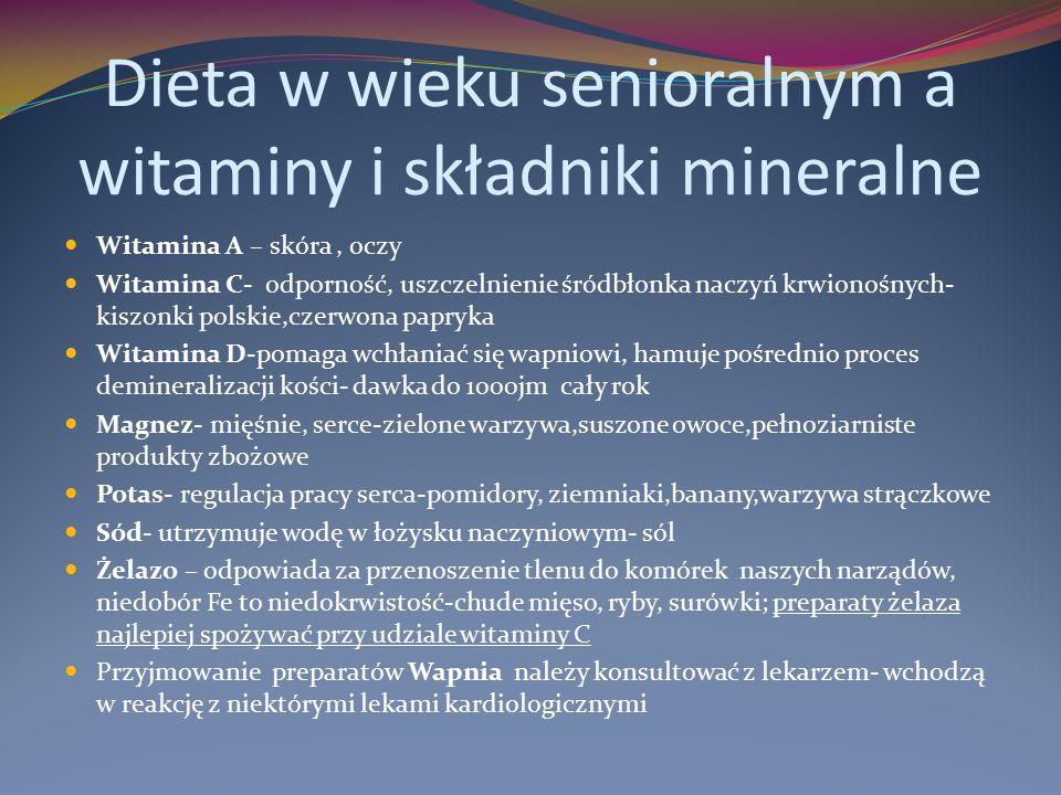 Dieta w wieku senioralnym a witaminy i składniki mineralne