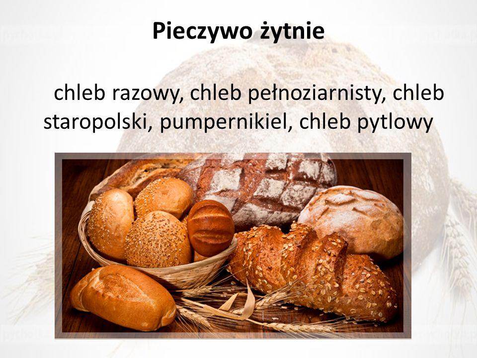 Pieczywo żytnie chleb razowy, chleb pełnoziarnisty, chleb staropolski, pumpernikiel, chleb pytlowy