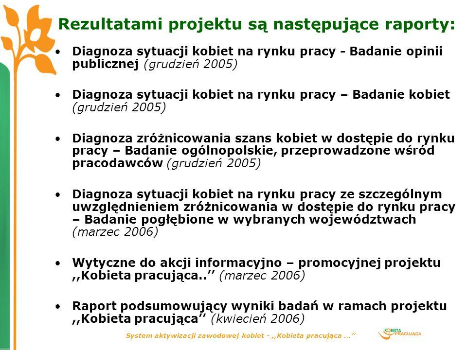 Rezultatami projektu są następujące raporty: