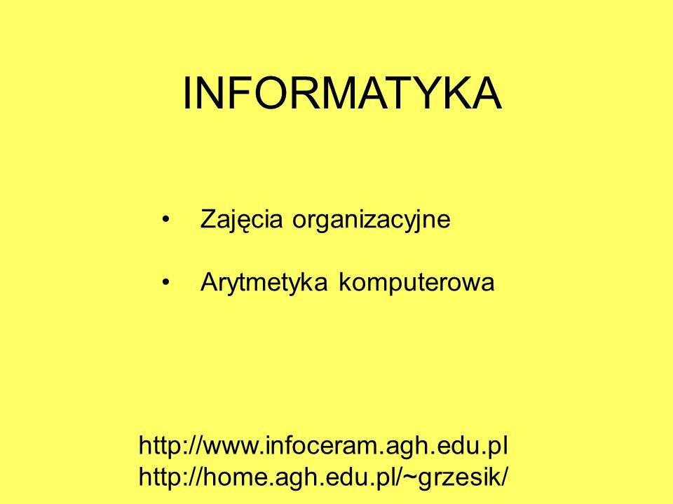 INFORMATYKA Zajęcia organizacyjne Arytmetyka komputerowa