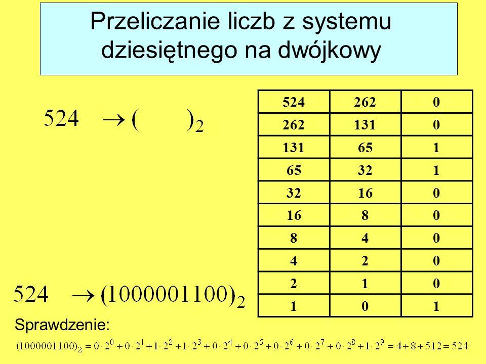 Przeliczanie liczb z systemu dziesiętnego na dwójkowy