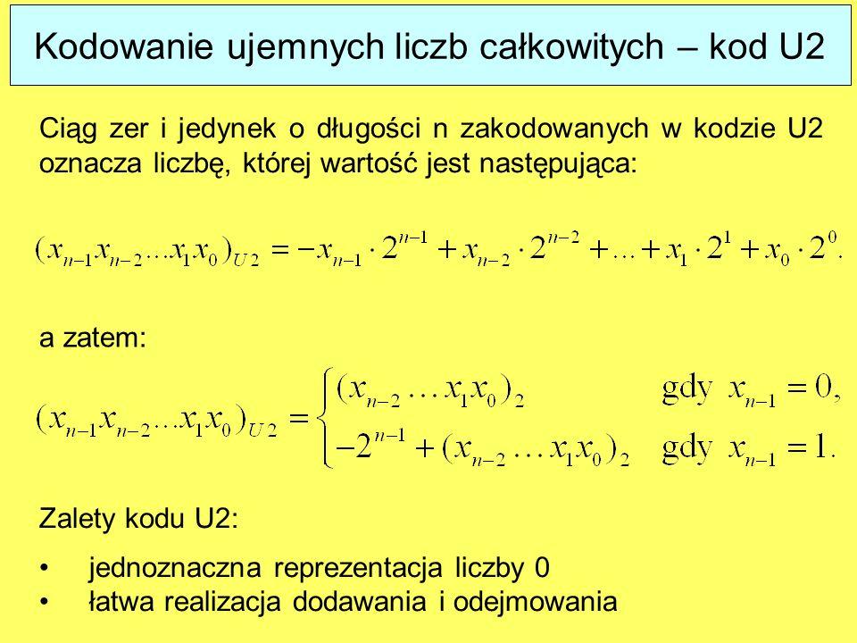Kodowanie ujemnych liczb całkowitych – kod U2