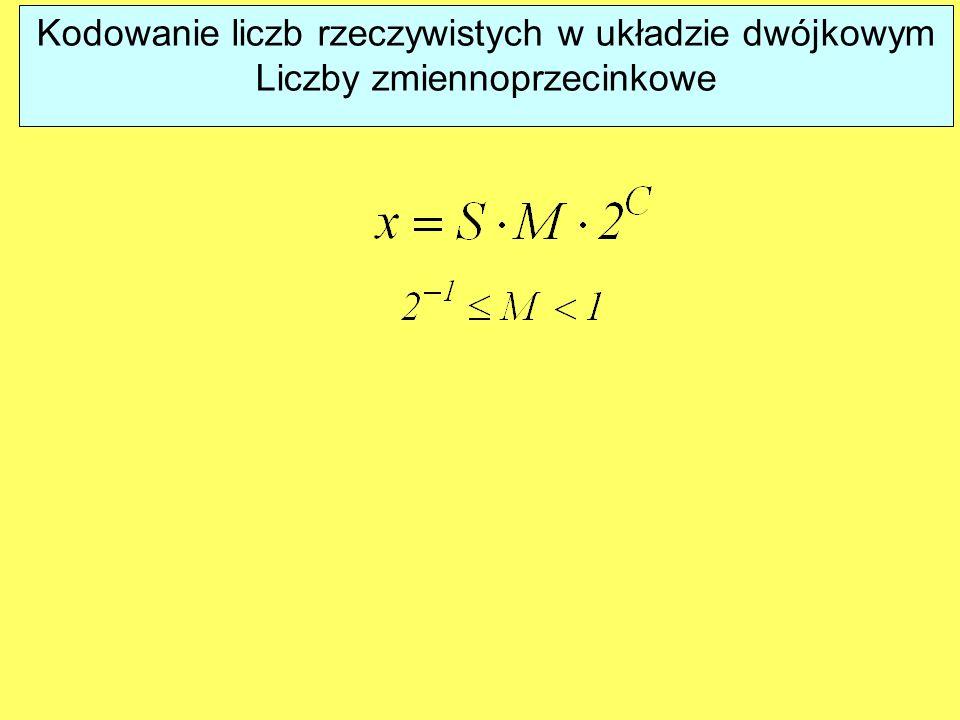 Kodowanie liczb rzeczywistych w układzie dwójkowym Liczby zmiennoprzecinkowe