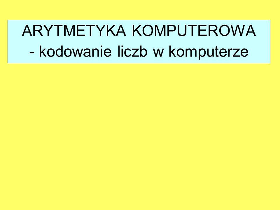 ARYTMETYKA KOMPUTEROWA - kodowanie liczb w komputerze