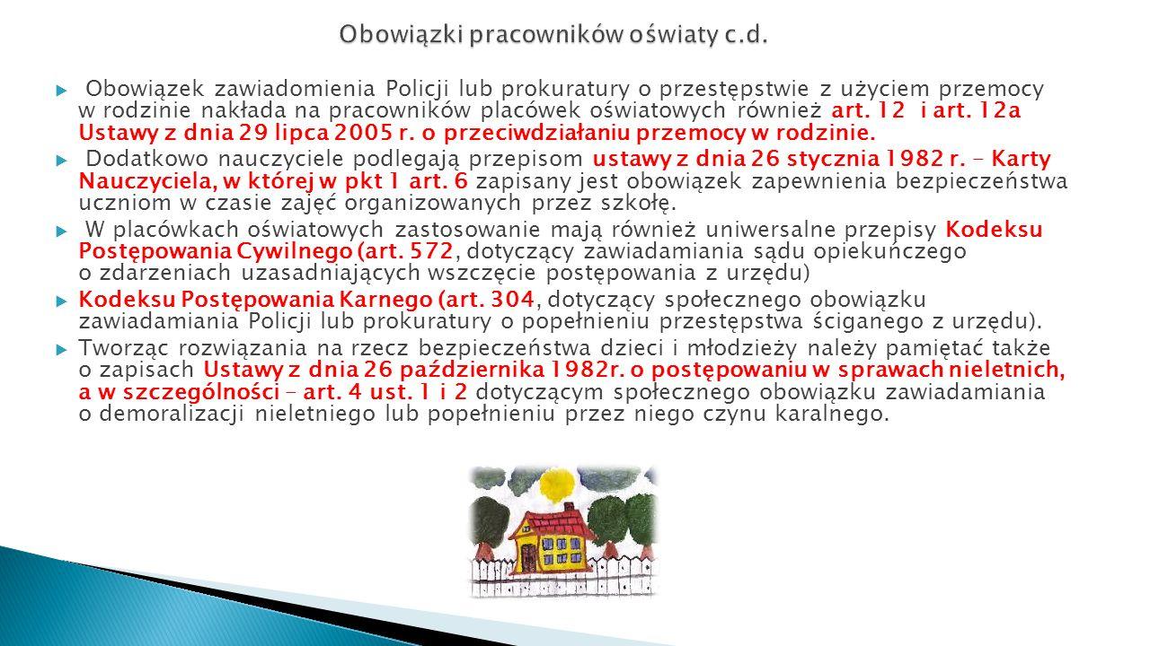 Obowiązki pracowników oświaty c.d.