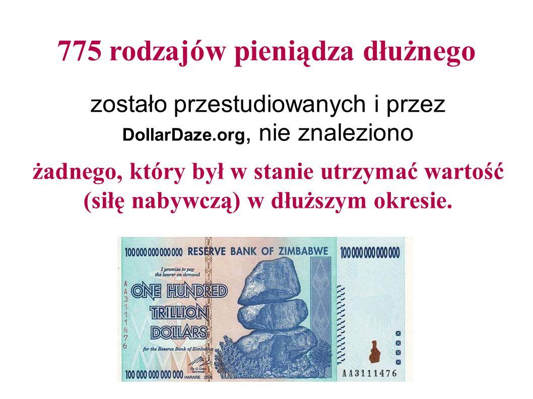 775 rodzajów pieniądza dłużnego