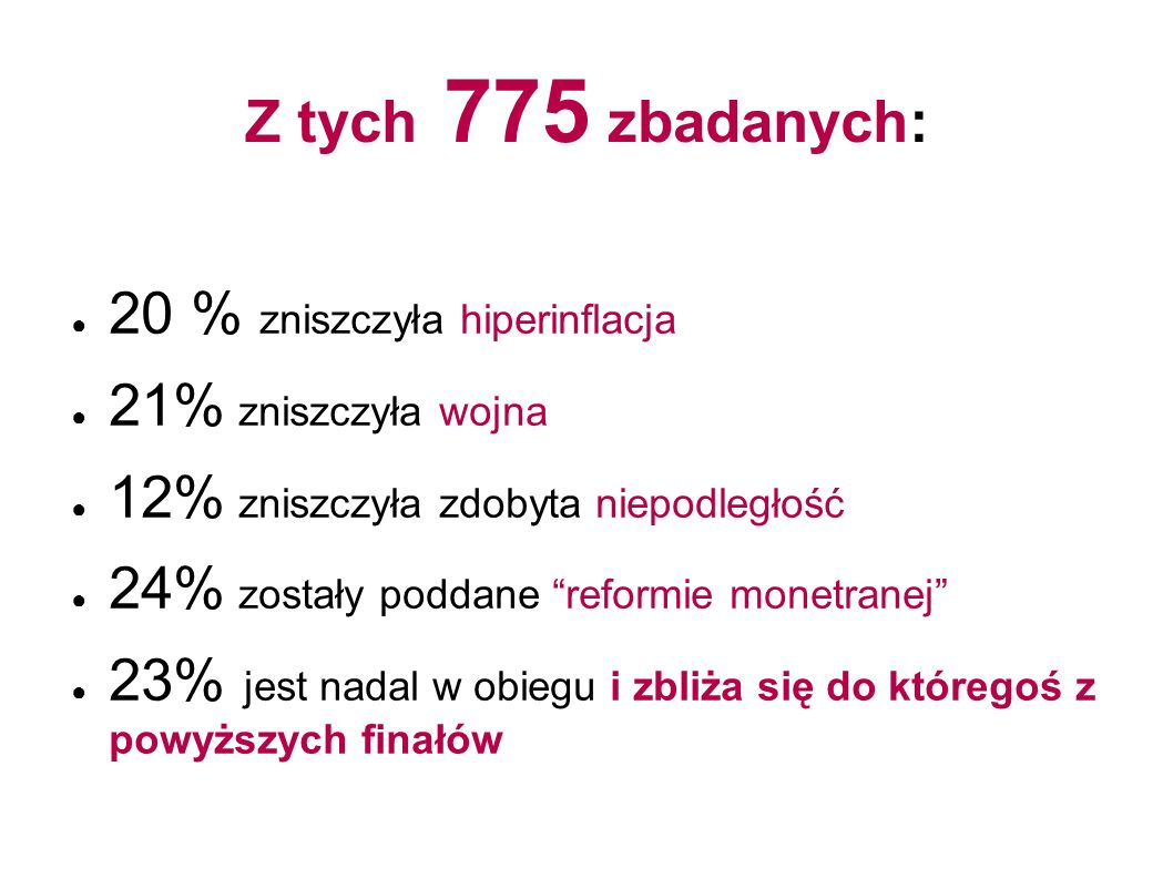 Z tych 775 zbadanych: 20 % zniszczyła hiperinflacja. 21% zniszczyła wojna. 12% zniszczyła zdobyta niepodległość.