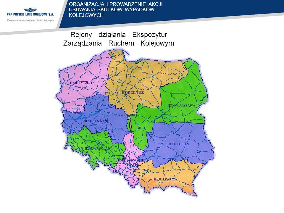 Rejony działania Ekspozytur Zarządzania Ruchem Kolejowym