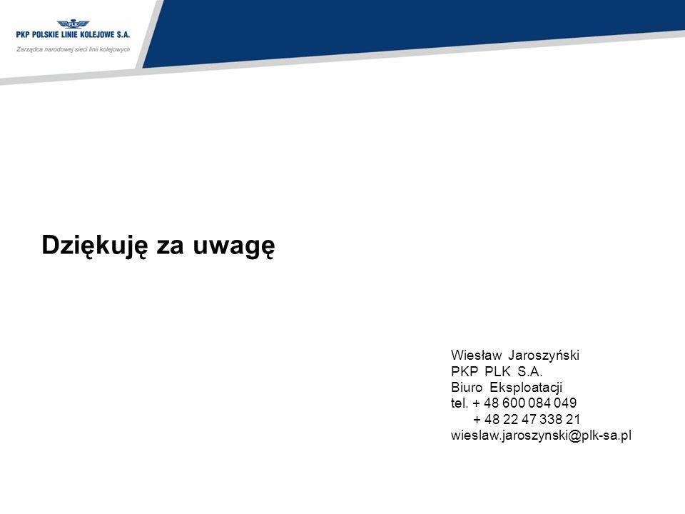 Dziękuję za uwagę Wiesław Jaroszyński PKP PLK S.A. Biuro Eksploatacji