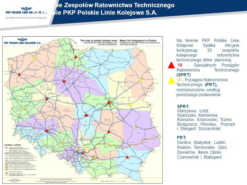 Rozmieszczenie Zespołów Ratownictwa Technicznego na terenie PKP Polskie Linie Kolejowe S.A.