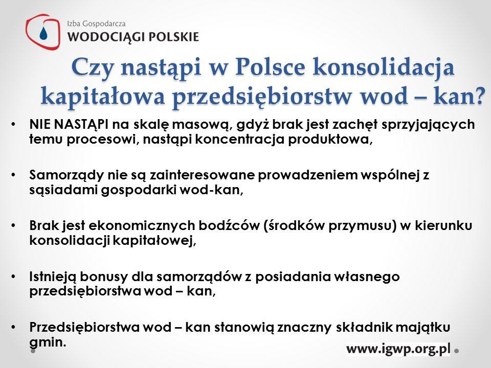 Czy nastąpi w Polsce konsolidacja kapitałowa przedsiębiorstw wod – kan