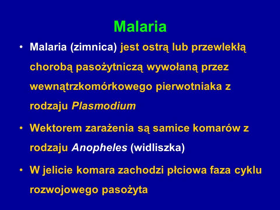 Malaria Malaria (zimnica) jest ostrą lub przewlekłą chorobą pasożytniczą wywołaną przez wewnątrzkomórkowego pierwotniaka z rodzaju Plasmodium.