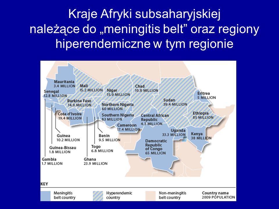 """Kraje Afryki subsaharyjskiej należące do """"meningitis belt oraz regiony hiperendemiczne w tym regionie"""