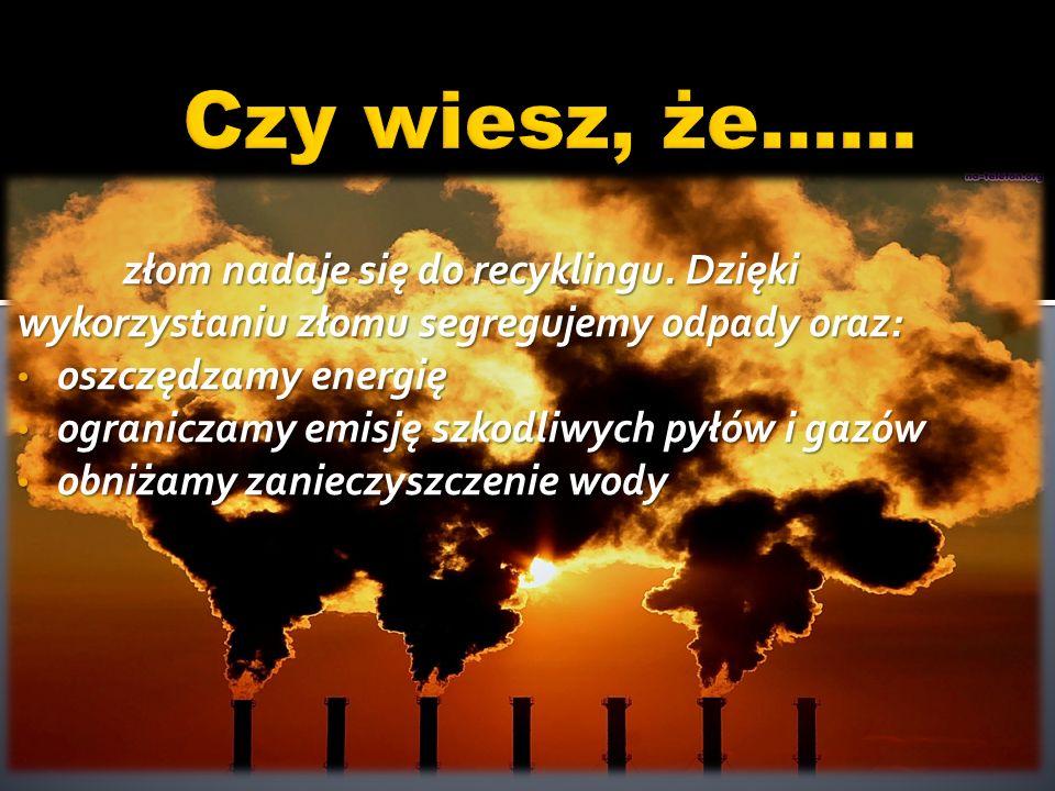 Czy wiesz, że…… złom nadaje się do recyklingu. Dzięki wykorzystaniu złomu segregujemy odpady oraz: oszczędzamy energię.