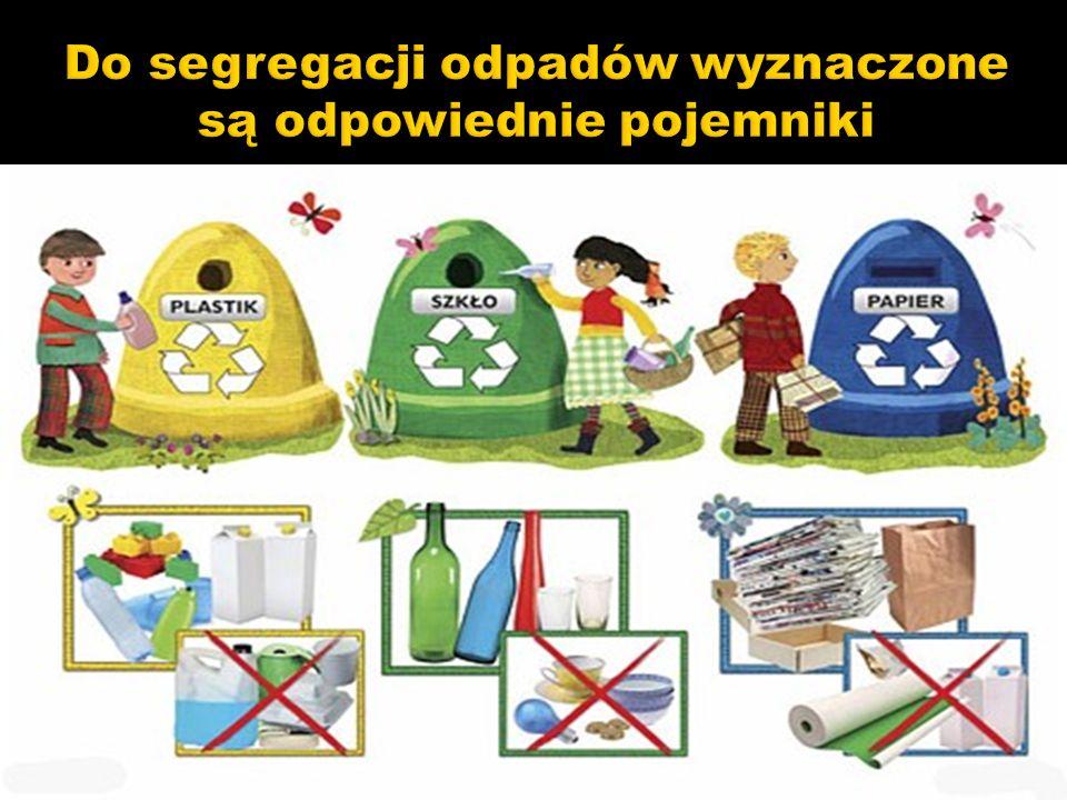 Do segregacji odpadów wyznaczone są odpowiednie pojemniki