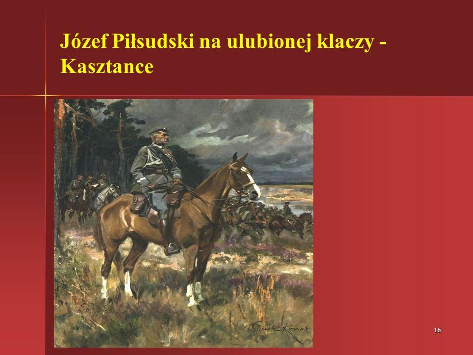 Józef Piłsudski na ulubionej klaczy - Kasztance