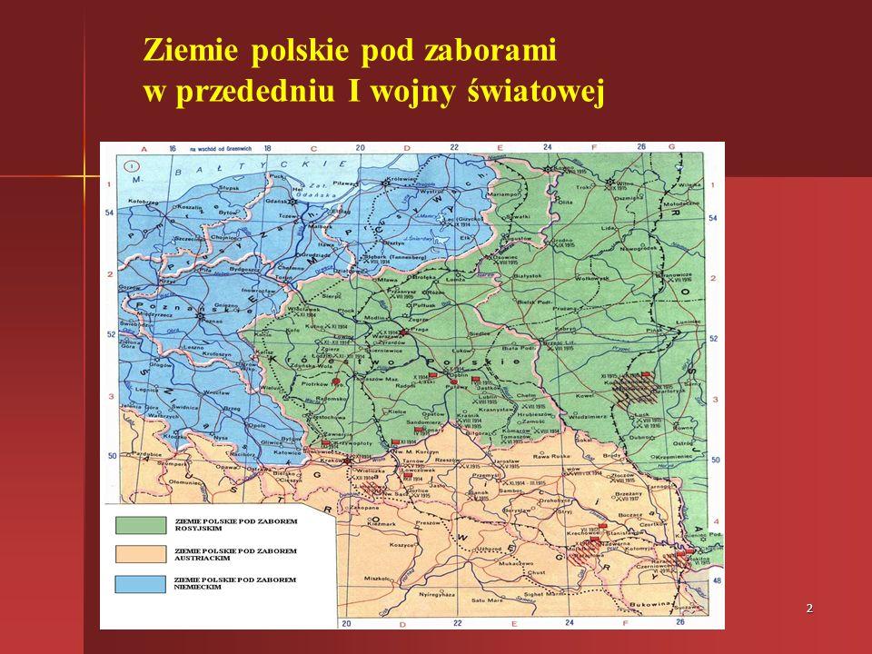 Ziemie polskie pod zaborami w przededniu I wojny światowej