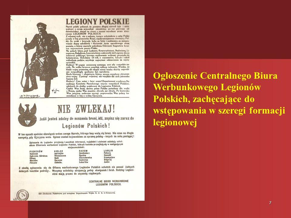 Ogłoszenie Centralnego Biura Werbunkowego Legionów Polskich, zachęcające do wstępowania w szeregi formacji legionowej