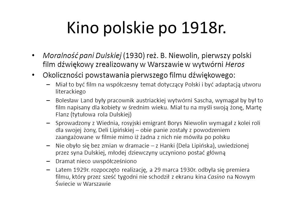 Kino polskie po 1918r. Moralność pani Dulskiej (1930) reż. B. Niewolin, pierwszy polski film dźwiękowy zrealizowany w Warszawie w wytwórni Heros.