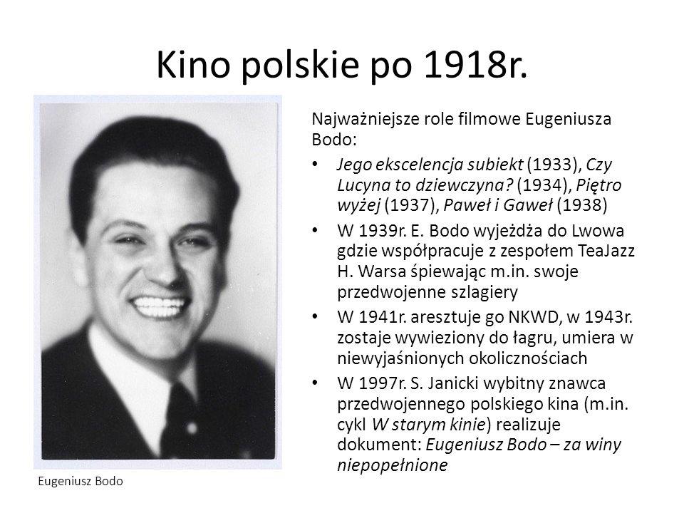 Kino polskie po 1918r. Najważniejsze role filmowe Eugeniusza Bodo: