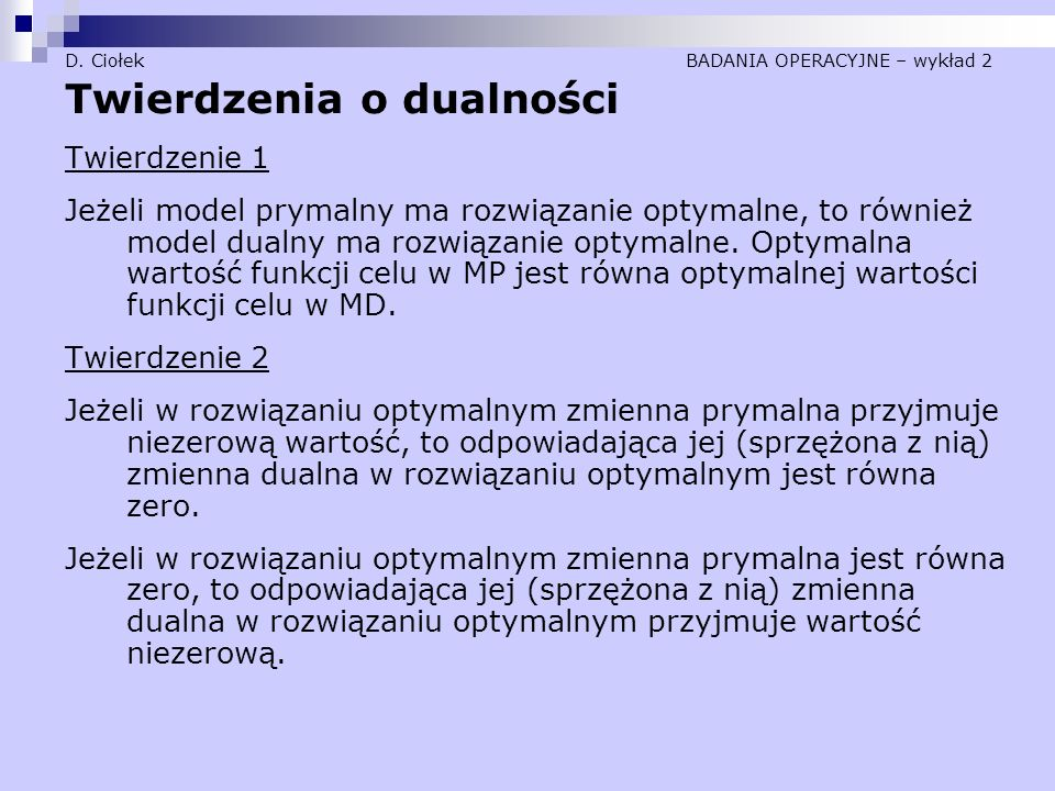 D. Ciołek BADANIA OPERACYJNE – wykład 2