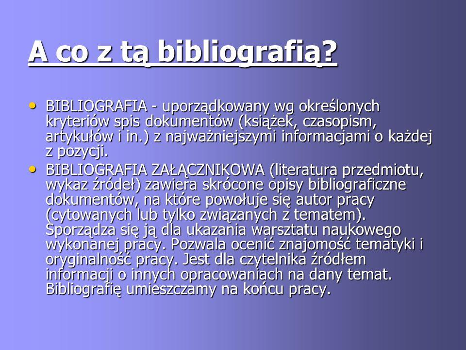 A co z tą bibliografią