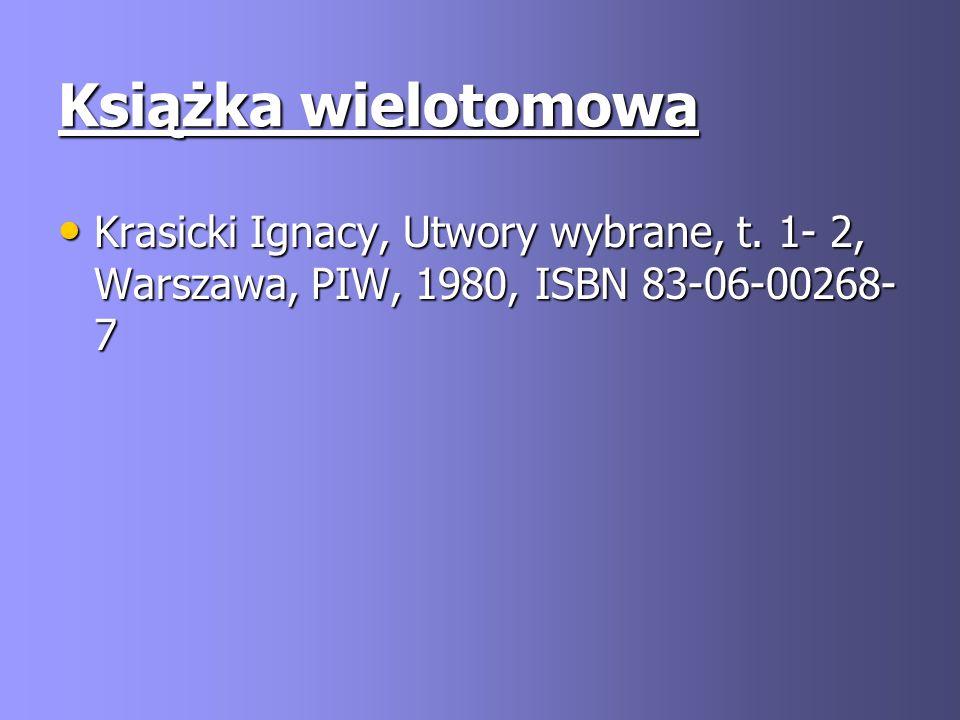 Książka wielotomowa Krasicki Ignacy, Utwory wybrane, t.