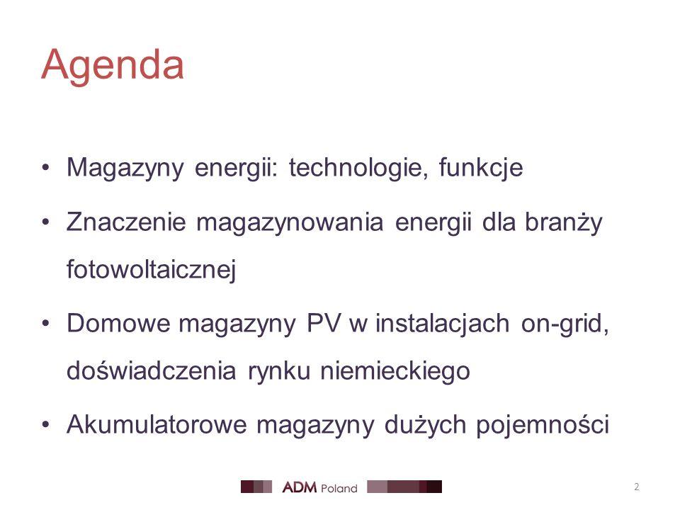 Agenda Magazyny energii: technologie, funkcje