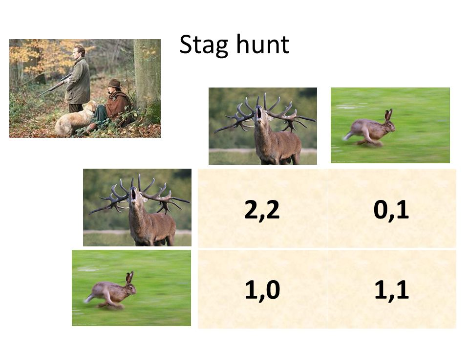 Stag hunt 2,2 0,1 1,0 1,1