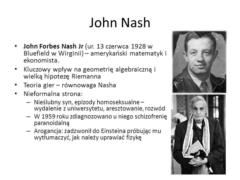 John Nash John Forbes Nash Jr (ur. 13 czerwca 1928 w Bluefield w Wirginii) – amerykański matematyk i ekonomista.