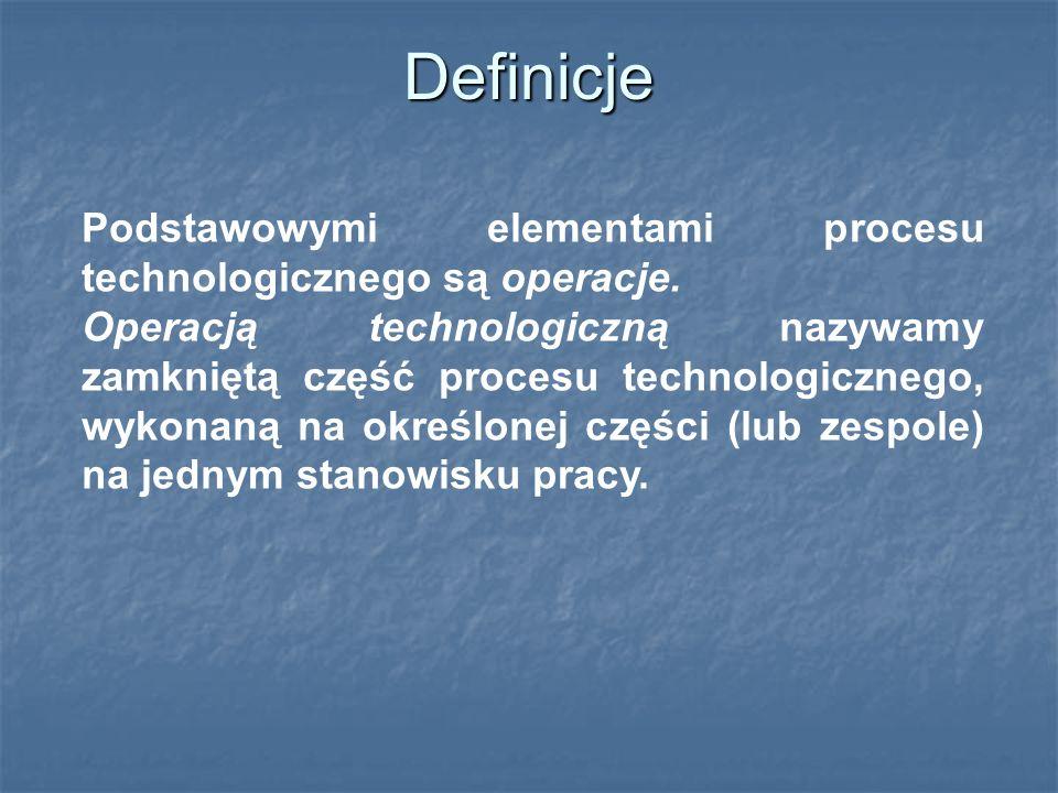Definicje Podstawowymi elementami procesu technologicznego są operacje.