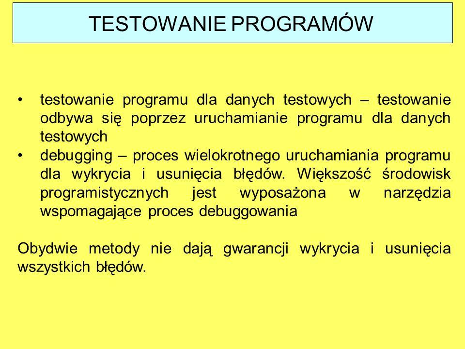 TESTOWANIE PROGRAMÓW testowanie programu dla danych testowych – testowanie odbywa się poprzez uruchamianie programu dla danych testowych.