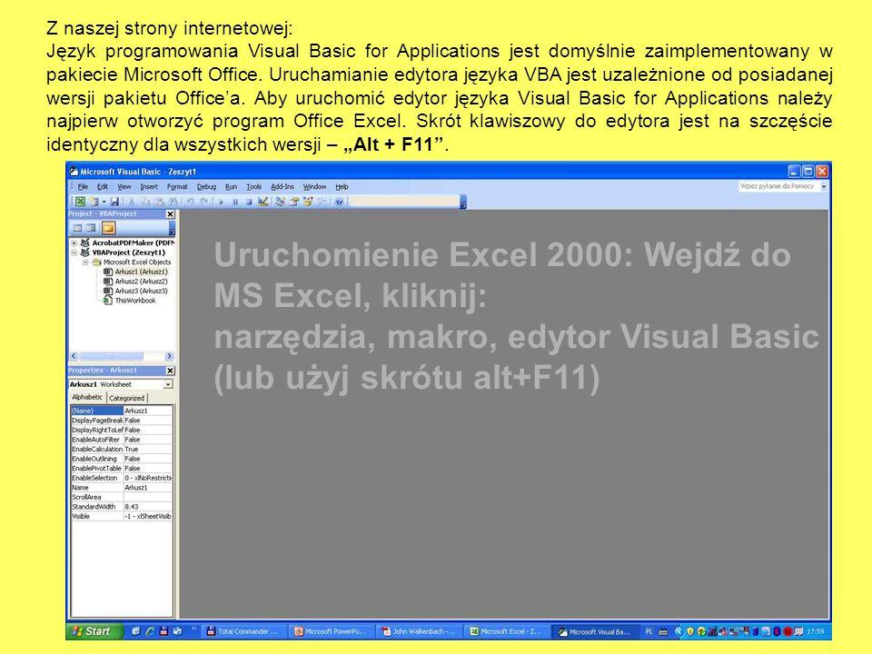Uruchomienie Excel 2000: Wejdź do MS Excel, kliknij: