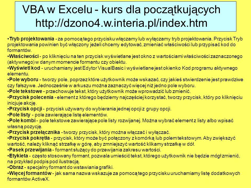 VBA w Excelu - kurs dla początkujących