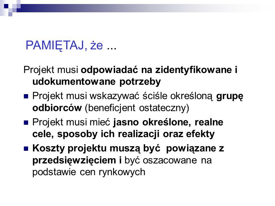 PAMIĘTAJ, że ... Projekt musi odpowiadać na zidentyfikowane i udokumentowane potrzeby.