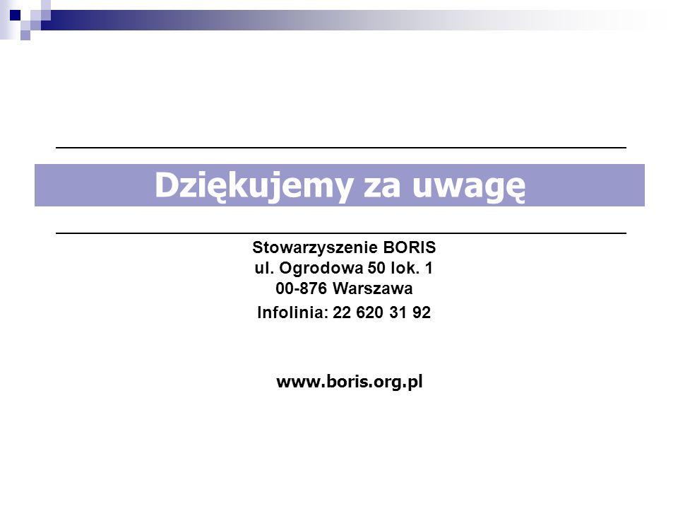 Stowarzyszenie BORIS ul. Ogrodowa 50 lok. 1 00-876 Warszawa