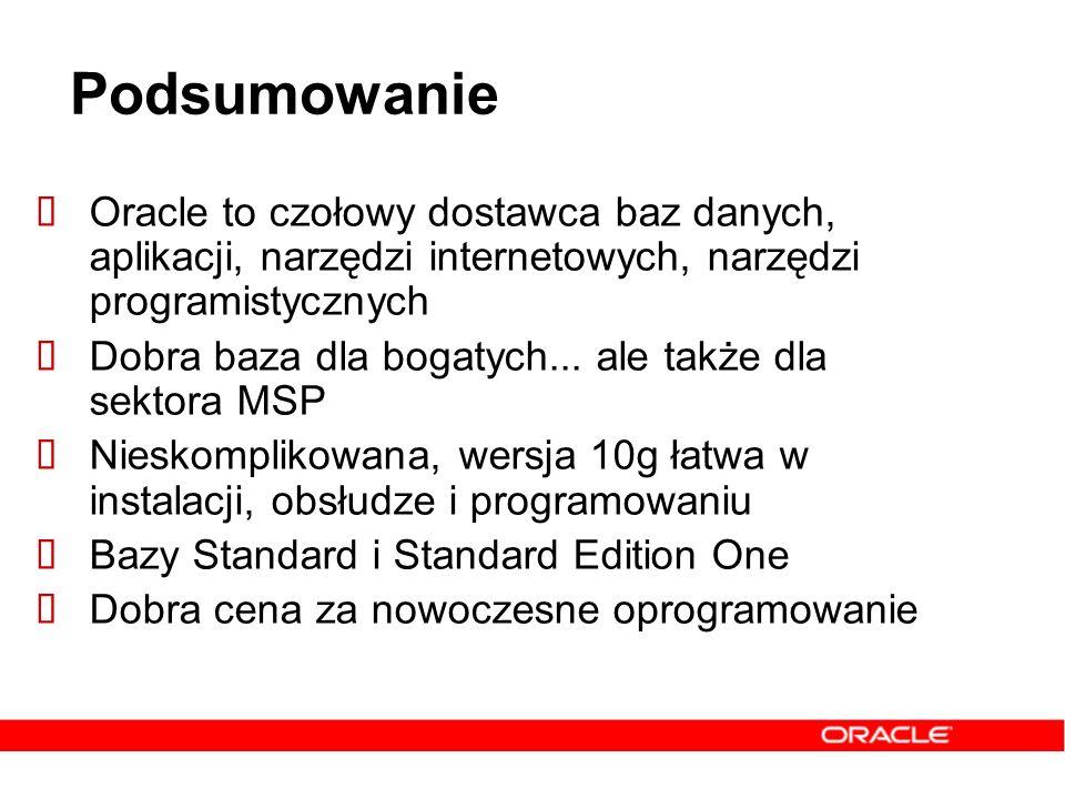 Podsumowanie Oracle to czołowy dostawca baz danych, aplikacji, narzędzi internetowych, narzędzi programistycznych.