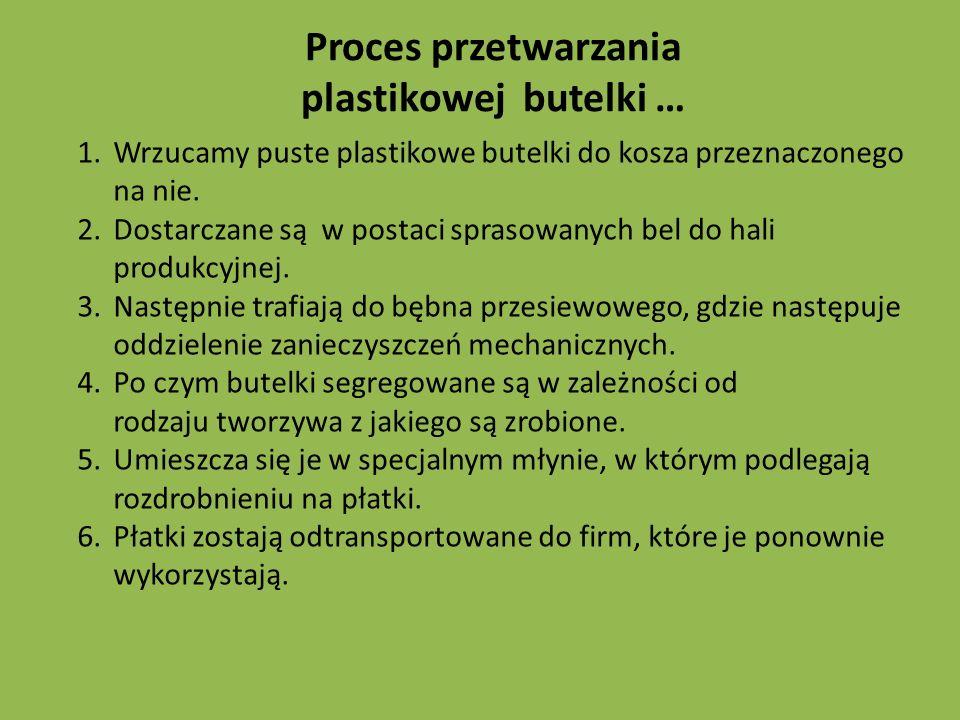 Proces przetwarzania plastikowej butelki …