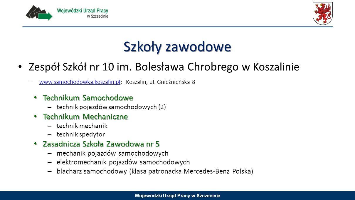 Szkoły zawodowe Zespół Szkół nr 10 im. Bolesława Chrobrego w Koszalinie. www.samochodowka.koszalin.pl; Koszalin, ul. Gnieźnieńska 8.