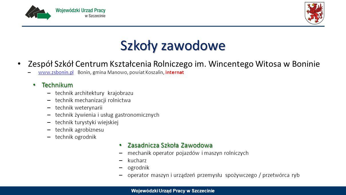 Szkoły zawodowe Zespół Szkół Centrum Kształcenia Rolniczego im. Wincentego Witosa w Boninie.
