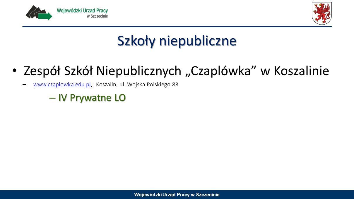 """Szkoły niepubliczne Zespół Szkół Niepublicznych """"Czaplówka w Koszalinie. www.czaplowka.edu.pl; Koszalin, ul. Wojska Polskiego 83."""