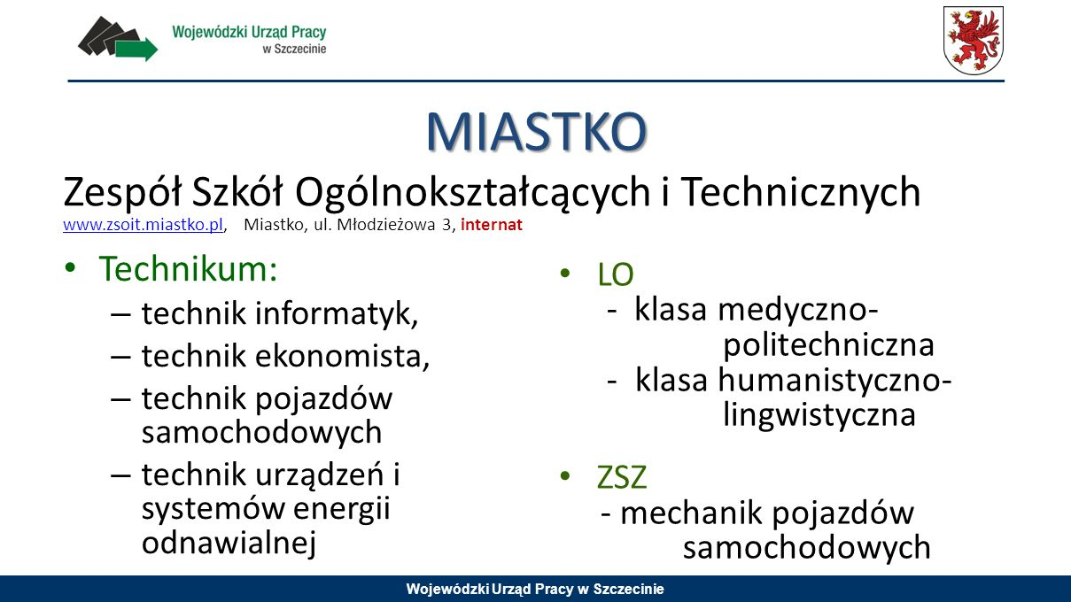MIASTKO Zespół Szkół Ogólnokształcących i Technicznych Technikum: LO