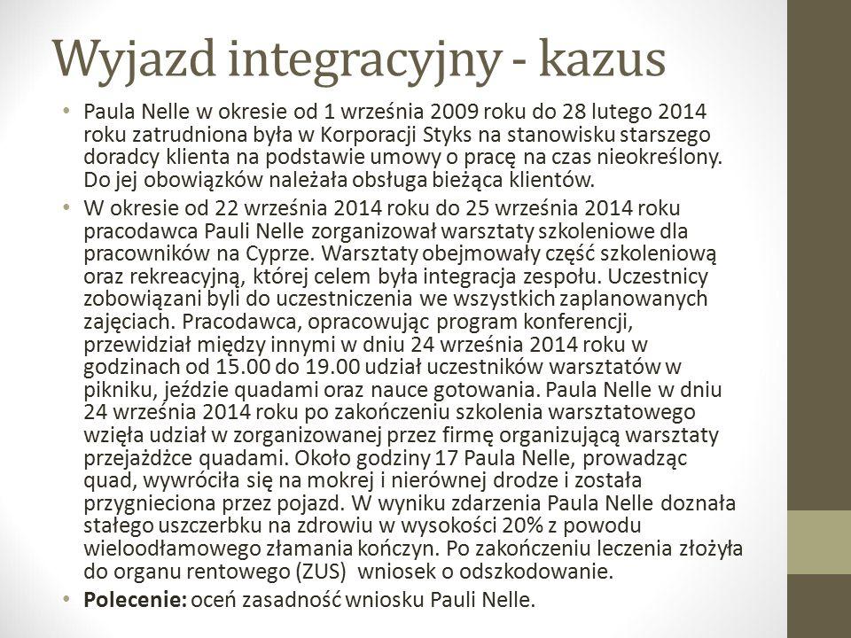 Wyjazd integracyjny - kazus